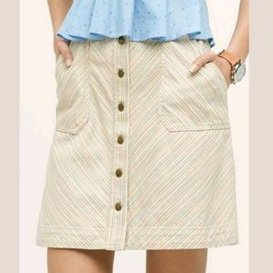 Anthro Pilcro Rainbow Denim Button Front Skirt